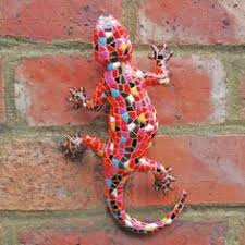 pair of mosaic finish lizard garden ornaments in resin wall