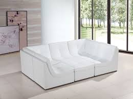 White Leather Sectional Sofa Casa 207 Modern White Bonded Leather Sectional Sofa