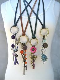 long boho necklace images Assemblage necklace boho purple bird tassel leather jpg