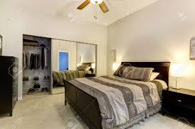 Bedroom With Furniture Elegant Bedroom With Dark Brown Furniture Mirror Door Closet
