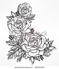 vintage floral highly detailed hand drawn stock vector 282101528