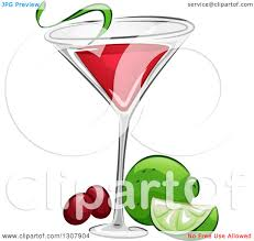 cocktail vector clipart of a cosmopolitan cocktail with lime and cranberries