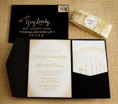 Invitation Pocket Gold Wedding Invitations Pocket Invitation With Hard Cover And