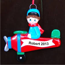 airplane boy personalized ornaments by