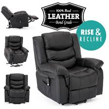 seattle electric rise real leather recliner armchair sofa home