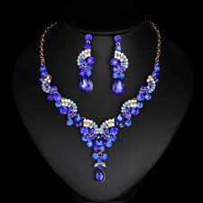new fashion necklace images New fashion wedding blue dubai rhinestone brides party gold color jpg