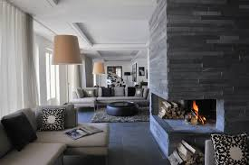 brown modern living area with fireplace contemporary room ideas on