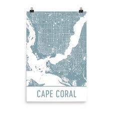 Map Of Cape Coral Fl Cape Coral Map Cape Coral Fl Art Cape Coral Print Cape