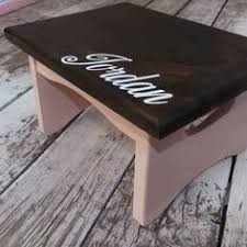 carlson by april 6th wooden step stool white personalized with