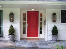 painting front door exteriors artistic side windows beside wide red front door and