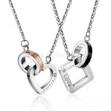 custom engraved necklace pendants personalized engraved matching couples necklaces set for two