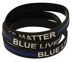 silicone rubber wristband bracelet images 10 pack of thin blue line blue lives matter adult 8 quot inch elastic jpg
