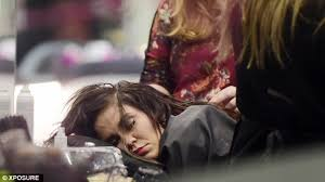 pattison hair extensions pattison pictured as she falls asleep in the hairdresser s