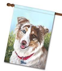 australian shepherd fabric australian shepherd scarlet house flag 28 u0027 u0027 x 40 u0027 u0027 custom