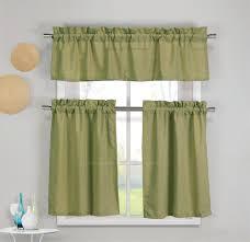Moss Green Curtains 3 Faux Cotton Moss Green Kitchen Window Curtain Panel Set