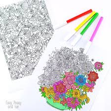 flower coloring pages adults easy peasy fun