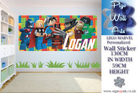 lego wall sticker marvel avengers kids bedroom personalised any