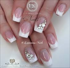 luminous nails classic french wedding nails with swarovski