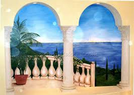 what color is water just paint it blog mediterranean mural acrylic on muslin wallpapered to wall 2003