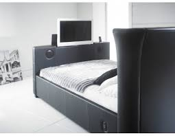 2new black 4 6 double leather music tv bed with built in speakers