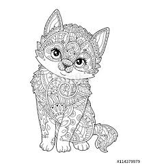 sitting kitten in zentangle style in vector hand drawn sketch