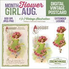 flower of the month month flower girl digital vintage postcard august