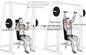 smith machine seated overhead press exercise instructions and video