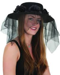 funeral veil funeral mourning black flower band black hat and veil