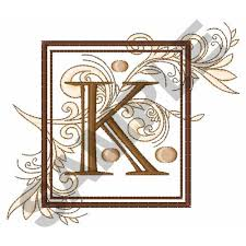fancy square letter k embroidery designs machine embroidery