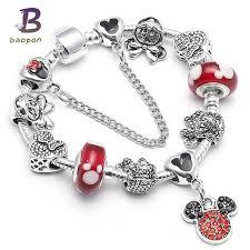 pandora link bracelet images Baopon dropshipping mickey minnie charm bracelet with nice marano jpg
