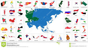 Map Of Asia Countries Set Of Round Glossy Flags Of Sovereign Countries Of Asia Stock