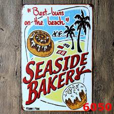 30x20cm seaside bakery cake vintage home decor tin sign wall decor