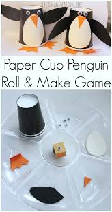 penguin writing paper paper cup penguin craft roll and make game the imagination tree