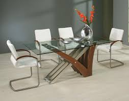 Glass And Wood Dining Tables Dining Room Modern Wood Dining Table With Glass Foot Square