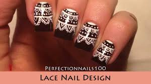 lace nail design nail art freehand tutorial youtube