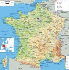 Physical Map Of Greece by France Physical Map Physical Map Of France France Topography Map