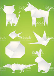 Origami Pets - origami pets of the white paper on green background vector