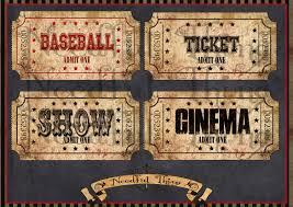vintage old paper tags cinema ticket sport show digital sheet