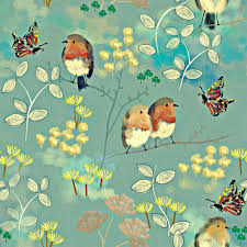 Kitschy Home Decor by Vintage Bird Fabric Birds And Butterflies By Susan Polston Mod