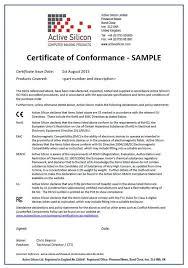 certificate conformance template sample conformity snapshot