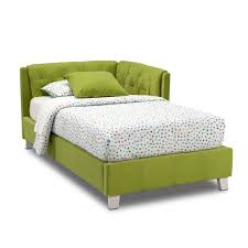 modern green linen fabric upholstered bed frame with l shaped