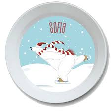 personalize plate polar design christmas personalized kids bowl christmas