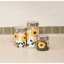 Sunflower Canisters For Kitchen Amazon Com Sunflower Canisters Set Of 3 Kitchen U0026 Dining
