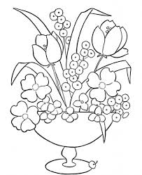 beautiful flower vase with flowers drawing bouquet of summer