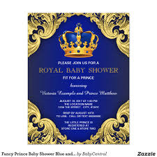 fancy prince boy baby shower invitations royal blue and gold