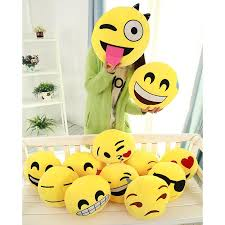 2016 soft emoji smiley emoticon yellow round cushion pillow