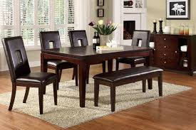 elegant dining room design with dark cherry wood finish table and