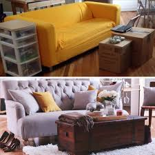 Home Decorators Gordon Sofa Before And After Small Space Living Room Makeover Extra Petite