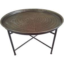 Outdoor Metal Side Table Old And Vintage Round Coffee Table With Black Metal Base Small