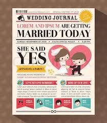 invitation card cartoon design cartoon newspaper journal wedding invitation vector design template